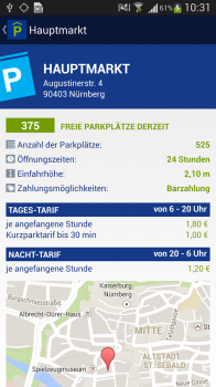 "Screenshot 2: Android App: ""Parken in Nürnberg"""