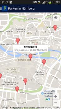 "Screenshot 3: Android App: ""Parken in Nürnberg"""