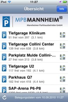 Screenshot 'Parken in Mannheim' iPhone App: Übersicht
