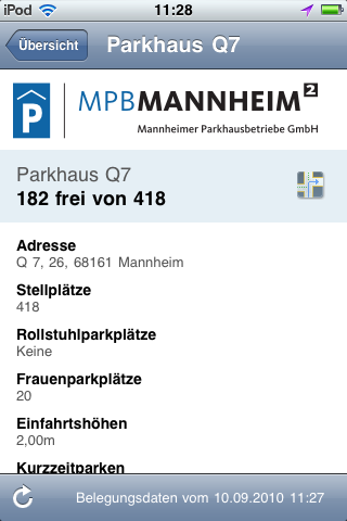 "Screenshot ""Parken in Mannheim"" iPhone App: Details"