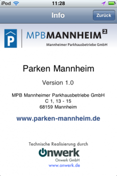 Screenshot 'Parken in Mannheim' iPhone App: Info