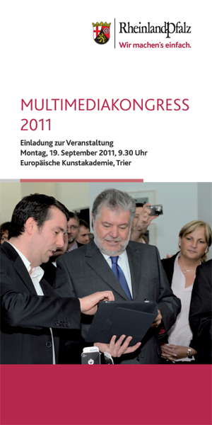 Frontseite des Programmflyers zum Multimediakongress 2011. Jens Doose, Geschäftsführer der Onwerk GmbH, zusammen mit Kurt Beck, Ministerpräsident von Rheinland-Pfalz