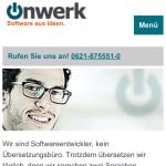 Screenshot der mobilen Webseite: Index/Hauptseite
