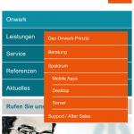 Screenshot der mobilen Webseite: Index/Hauptseite mit Menü