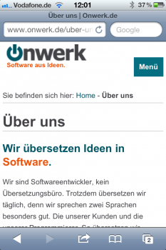 Screenshot der mobilen Webseite: Beispiel: Über uns