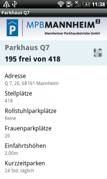 Screenshot 'Parken in Mannheim' Android App: Detail