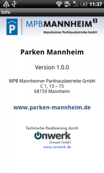 Screenshot 'Parken in Mannheim' Android App: Info