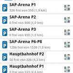 Screenshot 'Parken in Mannheim' Android App: Übersicht