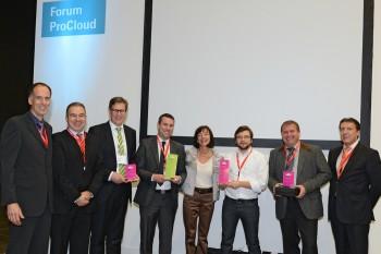 ProCloud Award 2012 - Gruppenbild mit den bestplatzierten Teilnehmern, den Veranstaltern und dem Juryvorsitzendem