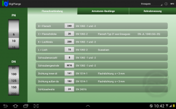 "Screenshot Android Tablet App ""VAG DigiFlange"""