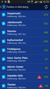 "Screenshot 1: Android App: ""Parken in Nürnberg"""