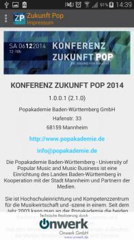 "Screenshot der Android-App ""Konferenz Zukunft Pop 2014"""
