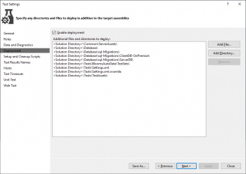MSTest Settings Dialog to specify Deployment Items